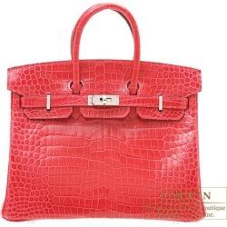 Hermes Birkin bag 25 Rose extreme Porosus crocodile skin Silver hardware found on Bargain Bro India from Rakuten Global for $82793.00