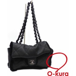 Chanel chain shoulder bag matelasse Lady's black black leather rabbit fur CHANEL shawl silver metal fittings here mark deep-discount exemption from taxation A4029767