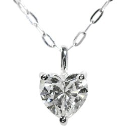 Heart shape Shin pull line diamond necklace pendant, natural /K18WG/750-1.23g/0.583ct/ center jewel research institute /I SI-1 HS/ white /i190803 ★■ 301961