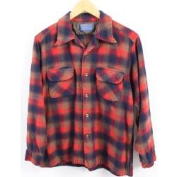 Men M vintage /wbh8264 in the 70s made in pen Dalton PENDLETON board shirt checked pattern open collar wool box shirt USA
