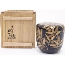 塗師多田桂寛造漆塗笹露蒔絵中棗 [tea ceremony / tea set / tea service set / curio / tea / jujube]