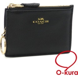 Coin case Lady's black black leather F12186 COACH outlet article pass case coin purse postage distinction deep-discount exemption from taxation A2170252 with the coach key ring