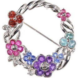 Bouquet motif multi-stone ruby X sapphire X amethyst X tourmaline X garnet broach pin-tuck /K18/750 X K14/585-7.6g/S: 0.50ct/R: 0.53ct/ center jewel research institute ■ 302788