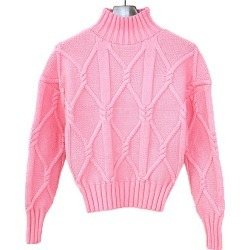J.CREW J. Crew Collection mock neck cable knit sweater pink XXS Lady's