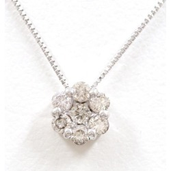 K18 18-karat gold WG white gold necklace diamond 0.30 used jewelry ★★ giftwrapping for free