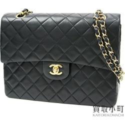 Chanel matelasse classical music flap bag black lambskin W chain shoulder double flap here mark twist lock vintage black #01 CLASSIC FLAP BAG