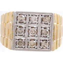 K10 10 gold YG yellow gold WG ring 18.5 diamond used jewelry ★★ giftwrapping for free