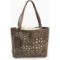 Gene ten multi-cutwork leather dark brown bag tote bag Lady's ★★ found on Bargain Bro India from Rakuten Global for $318.00
