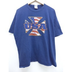 Old clothes T-shirt USA Star-Spangled Banner big size dark blue navy XL size used men short sleeves