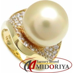 Pearl ring K18YG Golden pearl 13.3 millimeters diamond 1.00ct 14 pearl 18-karat gold yellow gold ring Lady's jewelry /63352