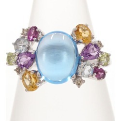 K10 10 gold WG white gold ring 12 blue topaz amethyst citrine peridot diamond 0.04 used jewelry ★★ giftwrapping for free
