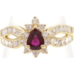 18K YG ring 9.5 ruby diamond used jewelry ★★ giftwrapping for free