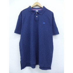 Old clothes polo shirt Nike NIKE logo fawn big size dark blue navy XL size used men short sleeves tops