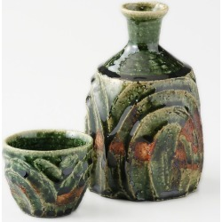 Mino ware Japanese dishes gift made in sake bottle & taking a swig at a bottle bottle and cup set Oribe undulation Japan