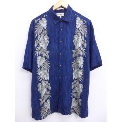 Old clothes Hawaii Ann shirt leaf rayon big size dark blue navy XL size used men short sleeves aloha tops