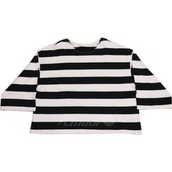 nest Robe 2019SS wide horizontal stripe big sleeve Tee T-shirt cut-and-sew white X black size: Free (nest robe)