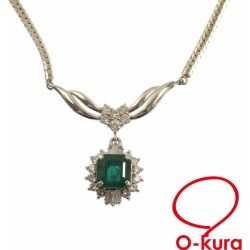 Jewelry Japanese cypress emerald diamond necklace Lady's Pt850 E3.32ct/D1.15ct 19.6 g JEWELRY MAKI platinum diagram deep-discount pawnshop exemption from taxation A6022981