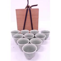 Celadon porcelain flower green tea of medium quality porcelain bowl 10 客揃 [Japanese dishes / Matcha Bowl / Matcha bowl / tea ceremony / tea set / tea service set / curio / tea]
