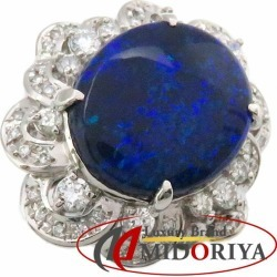 Black opal ring Pt900 black opal 9.54ct diamond 0.90ct 12.5 platinum ring Lady's jewelry /63351