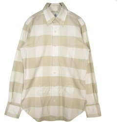 BLACK FLEECE (BROOKS BROTHERS) Check button-down shirt beige X white size: BB00 (black fleece Brooks Brothers)