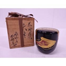 塗師西條一斎造巻物蒔絵大棗 [tea ceremony / tea set / tea service set / curio / tea / jujube]