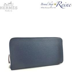 Hermes (HERMES) アザップシルクインヴォーエプソンブルーインディゴ C 刻 round fastener long wallet