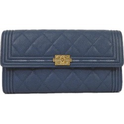 CHANEL Chanel boy Chanel matelasse flap long wallet navy / khaki Gres India calf gold metal fittings A80286 new article-free (CHANEL BOY CHANEL Matelasse Flap Long Wallet Navy/Khaki Grained Calf[Never used][Authentic])# よちか