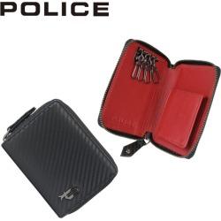 Four POLICE LUCENTE KEY CASE police key case key ring men round fastener leather black black PA-70205 [7/26 Shinnyu load]