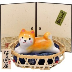 The compact which has a cute interior of the earthenware ornament / わんこ weather Japanese midget Shiba (with a bamboo basket) / summer