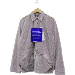 Make JUNYA WATANABE COMME des GARCONS MAN 2019SS stripe X check reshuffling; shirt brown X navy X white size: M (ジュンヤワタナベコムデギャルソンマン)