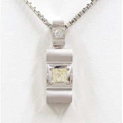 PT900 platinum PT850 necklace yellow diamond 0.260 VS1 diamond 0.05 appraisal used jewelry ★★ giftwrapping for free