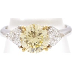 PT950 K18YG ring 11 yellow diamond 1.458 VVS2 diamond 0.70 appraisal used jewelry ★★ giftwrapping for free