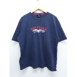 Old clothes T シャツトミーヒルフィガー TOMMY HILFIGER logo chain stitch embroidery dark blue navy XL size used men short sleeves