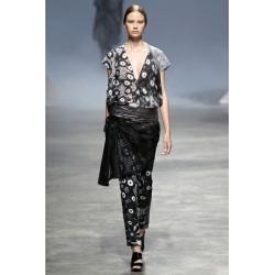 Issey Miyake ISSEY MIYAKE graphic print hem zip stretch skinny pants black and white gray 3