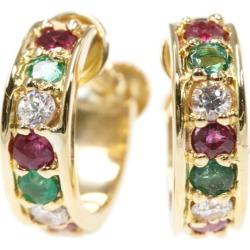Star jewelry multi-stone emerald X ruby X diamond earrings /K18YG/750-2.5g/ yellow gold /STAR JEWELRY ■ 310347