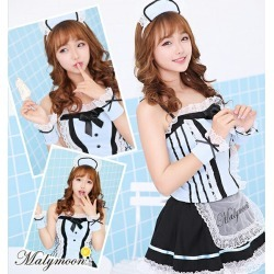Halloween costume play maid costume play light blue sexy maid clothes clothes Halloween costume Halloween European-style building maid costume play clothes Koss sexy disguise dot pattern uniform cos Mary moon malymoon