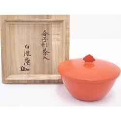 Vermilion lacquer coat slop-bowl form tea caddy [tea ceremony / tea set / tea service set / curio / tea / tea caddy]