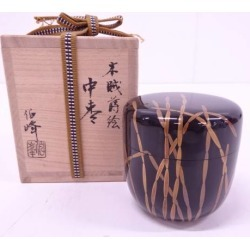 Jujube [tea ceremony / tea set / tea service set / curio / tea / jujube] in the 伯峰造漆塗 り scouring rush lacquer work