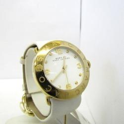 MARC BY MARC JACOBS mark by mark Jacobs watch analog quartz MBM1150 gold white leather belt round face logo clockface white fashion Shin pull Lady's Higashiosaka store 307724 RY1161