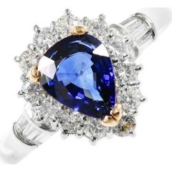 ペアーシェイプ sapphire diamond ring, ring /Pt900-6.2g/SA1.21ct/FD: 0.62ct/ center jewel research institute /13 /#53/ platinum color X yellow gold X blue /h191023 ■ 312356
