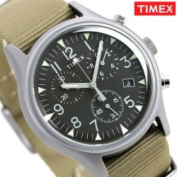 Timex MK1 aluminum chronograph men watch TW2T10700 TIMEX clock black X beige