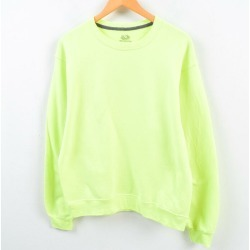 Fruit of the Loom FRUIT OF THE LOOM neon color plain fabric sweat shirt trainer men L /wbe8165