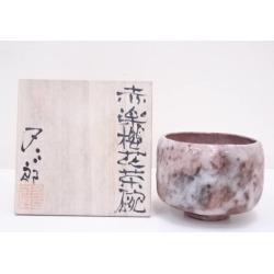 又三郎造赤楽桜花茶碗 [Japanese dishes / Matcha porcelain bowl / Matcha bowl / tea ceremony / tea set / tea service set / curio / tea]