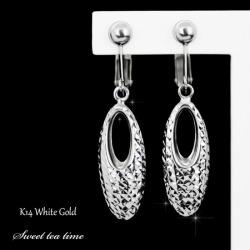 Earrings K14WG white gold metal jewelry lady's-earrings ISD