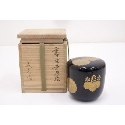 文夫造漆塗高台寺蒔絵大棗 [tea ceremony / tea set / tea service set / curio / tea / jujube]