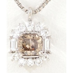 PT900 platinum PT850 necklace Dai Brown-ya 1.033 VS2 diamond 0.388 appraisal used jewelry ★★ giftwrapping for free