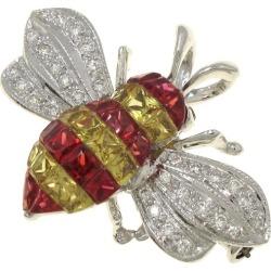 The K18WG sapphire ruby diamond broach or top
