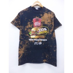 Summer clothes short sleeves T-shirt in the spring and summer old clothes McDonald's hamburger Dr. Pepper black black tie die medium size men for summer ティーシャツティシャツカットソートップスメンズ T-shirt short sleeves T-shirt short sleeves T-shirt casual T-shirt fashion