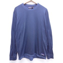 Old clothes long sleeves T-shirt Patagonia patagonia big size dark blue navy XL size used men