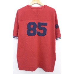 Old clothes vintage T シャツトミーヒルフィガー TOMMY HILFIGER big size red red XL size used men short sleeves